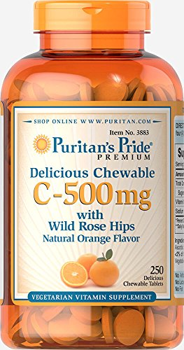 (Puritan's Pride Chewable Vitamin C-500 mg with Rose Hips-250 Chewables)