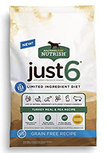 Rachael Ray Nutrish Just 6 Natural Dry Dog Food, Grain Free Turkey Meal & Pea Limited Ingredient Diet, 24 lbs