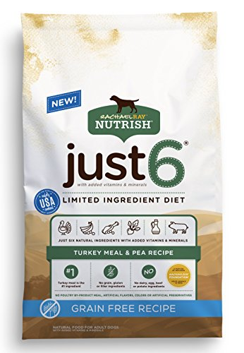 Rachael Ray Nutrish Just 6 Limited Ingredient Diet, Turkey Meal & Pea Recipe Dry Dog Food, 24 Pounds, Grain Free (Purina One Grain Free Dog Food)