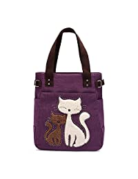 Micom 2016 Casual Cute Two Cats Embroidered Canvas Tote Bag Shoulder Handbag  for Women 7eff6cd8ef575