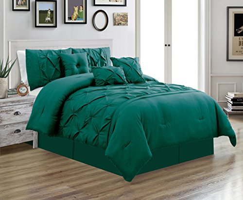Bedding Blue 7 Piece (Grand Linen 7 Piece QUEEN size Solid TEAL BLUE Double-Needle Stitch Puckered Pinch Pleat Stripe Includes 1 Comforter, 3 Decorative Pillows, 1 Bed Skirt, 2 Shams)