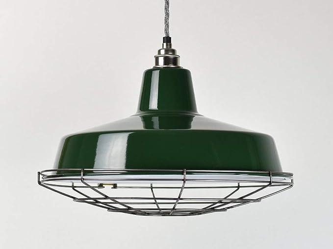 Lámpara de techo, esmalte industrial verde clásico, estilo ...