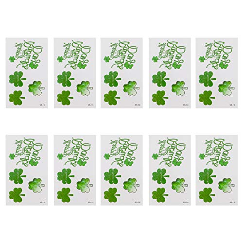 Amosfun 10 Sheets St. Patrick's Day Shamrock Tattoo Stickers Glitter Irish Four-Leaf Clover Temporary Body Art St…