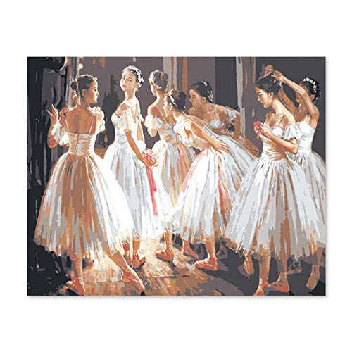 - aoyuff DIY Digital Oil Painting by Numbers Drawing Hand Painted Pic Ballerina Dancing Participation in The Class