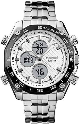 1302 uomini di modo di svago Orologio multifunzionale Dual-tempo orologio sportivo digitale con il cinturino dell'acciaio inossidabile, Con DLXN Silver