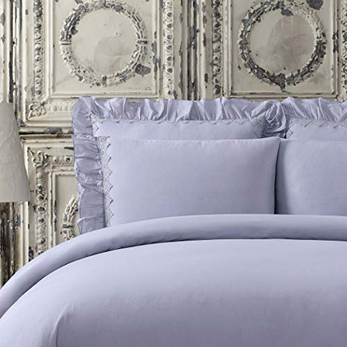 Cottage Classics Washed Cotton Voile Ruffle European Sham in Lavender ()