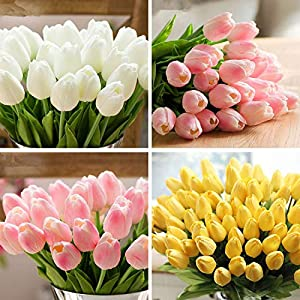 Artificial Fowers 31Pcs/Lot Pu Mini Tulip Flower Real Touch Wedding Flower Bouquet Artificial Silk Flowers for Home Party Decoration,Orange 5