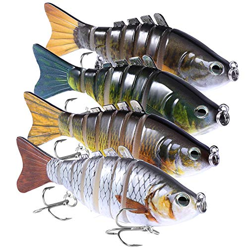 PLUSINNO Fishing Lures for Bass, 4Pack Multi Jointed Swimbaits Crankbaits Slow Sinking Hard Lure Fishing Tackle Kit Gear ()