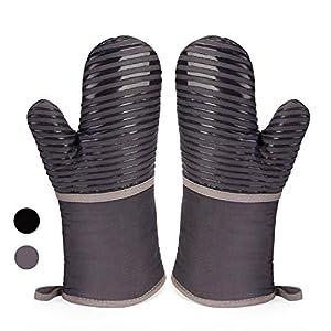 Anpole - Guanti da forno in silicone resistenti al calore, fodera in morbido cotone con superficie antiscivolo, guanti… 3 spesavip