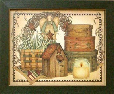 Framed Angel Basket Hearts & Stars Linda Spivey (Linda Spivey Hearts And Stars)