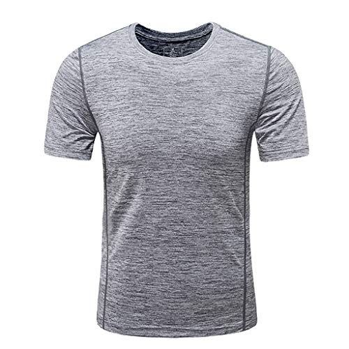 Men's Summer Blouse, JOYFEEL  Quick Dry Casual Crewneck T-Shirt Fitness Breathable Pure Color Sport Blouse Top Gray