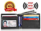 KALMORE Men's RFID Blocking Multi-Card Travel Bifold Genuine Leather Wallet (Full-Grain Leather Black)