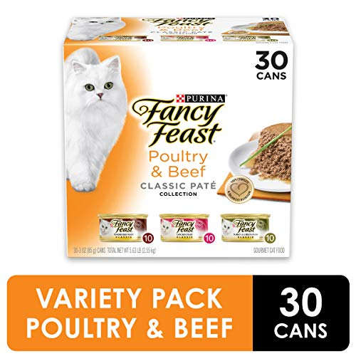 Purina Fancy Feast Grain Free Pate Wet Cat Food Variety Pack, Poultry & Beef Collection – (30) 3 oz. Cans