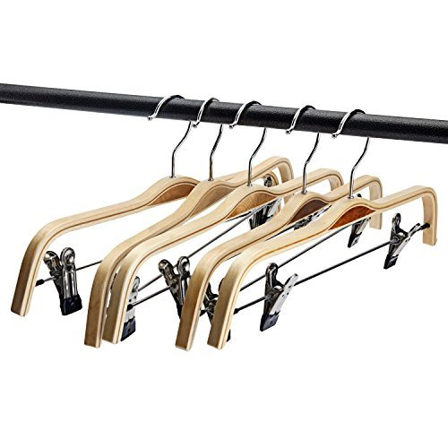 Minoniso Wooden Pants/Clothes Hangers with Polished Clips and Hooks, Natural Wood Suit Hangers, Pack of 5