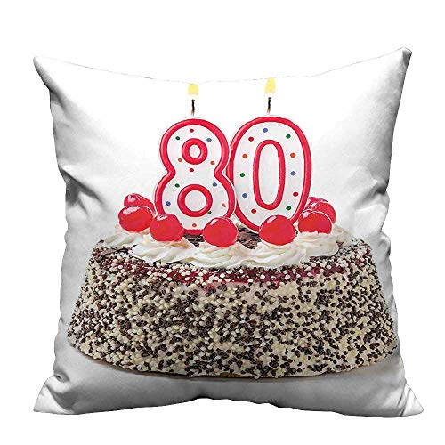 - YouXianHome Decorative Couch Pillow Cases Birthday Party Cake with Cherries Sprinkles and Candles Image Easy to Wash(Double-Sided Printing) 35x35 inch