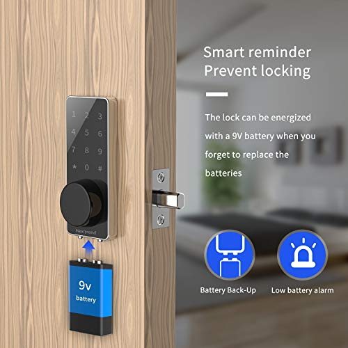 [Newest]Smart Lock, NexTrend Smart Electronic Door Lock with Bluetooth Keyless, Touchscreen, Mechanical Keys Enabled Auto Lock & Alarm Technology for Home/Hotel/Apartment, Silver by NexTrend (Image #5)