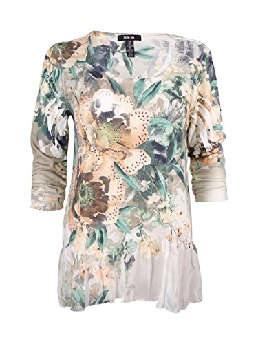 Style & Co. Women's Embellished Floral Print Top (XS, Mint (Style & Co Woman Floral Print Top)