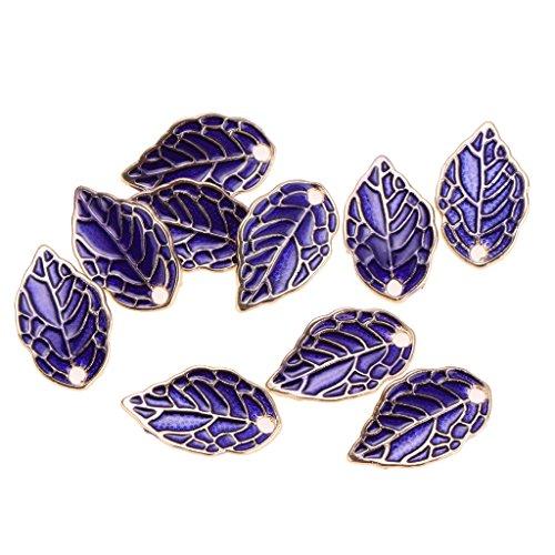 Homyl 10pcs Filigree Purple Charms Leaf Pendant Bracelet Jewelry Finding DIY Craft (Leaf Design Filigree Pendant)