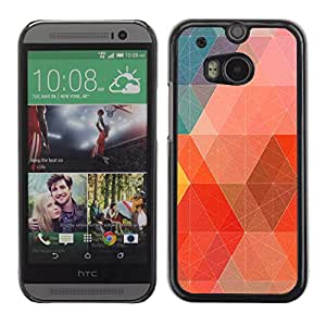 MOBMART Carcasa Funda Case Cover Armor Shell PARA HTC One M8 - Interconnected Points Of Colored Boxes