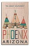 Lantern Press Phoenix, Arizona - The Great Southwest - Teepees (10x15 Wood Wall Sign, Wall Decor Ready to Hang)
