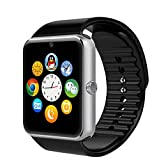 Corado Hill Smart Watch Bluetooth Camera Pedometer SIM Card and Media Card Slots Activity Tracker for All Android Smartphones (Silver)