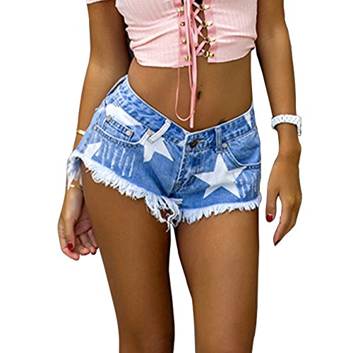 ESDAMIER Sexy Ripped Denim Jean Shorts for Women Low Waist Destroyed Shorts Frayed Stars Printed Raw Hem Summer Wear ()