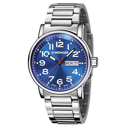 Wenger 01.0341.105 Men's Attitude Day Date Stainless Steel Case and Bracelet Blue Dial Silver Watch