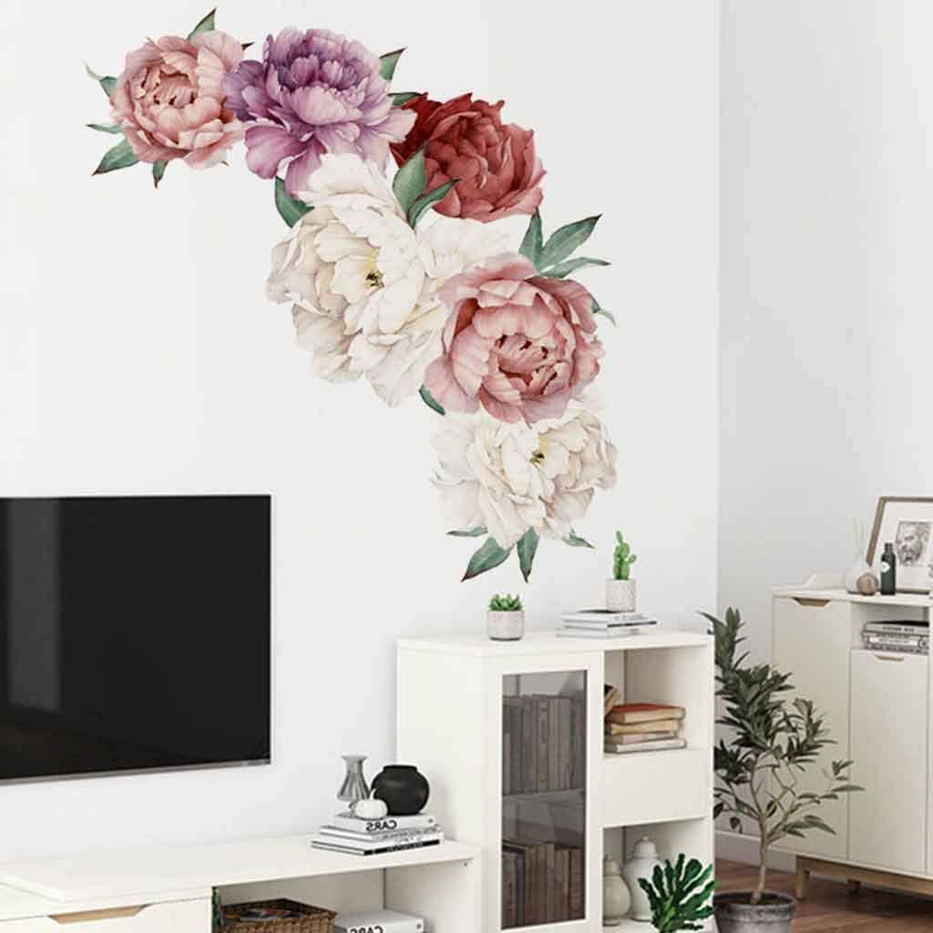 40 x 60 cm VNEIRW 3D Wandtattoo Shrinkable Pfingstrose Rose Blumen Stereo Wandaufkleber Kunst Kinderzimmer Hintergrund Abziehbilder Deko