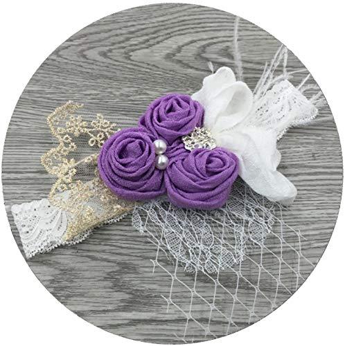 - APRIL GIRL Flower Girl Dress, Lace Dress 3/4 Sleeve Dress (Purple Headband, M Headband)