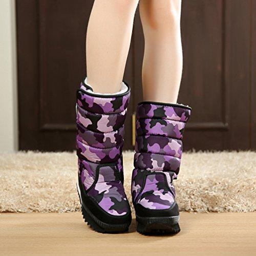 LvRao botas para nieve impermeables casual calzado para invierno corta de zapatos deportivos trekking botas ski para mujer Morado