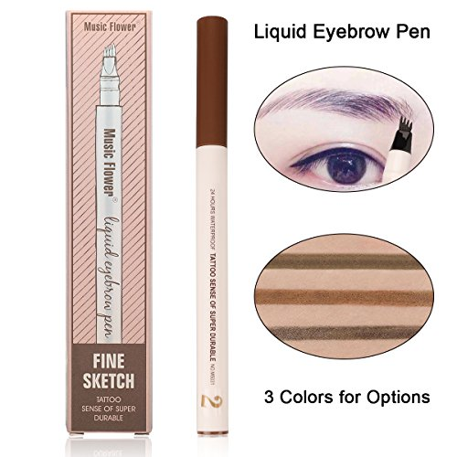 Eyebrow Pen-Waterproof Microblading Eyebrow Pen Smudge-Proof Liquid Tattoo Pen-Four Tips Long-lasting Brown Eyebrow Pen for Eyes Makeup (02# Brown)