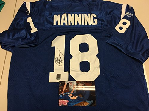 Peyton Manning Autographed Signed Custom Indianapolis Colts Jersey Manning Hologram W/Photo From Signing