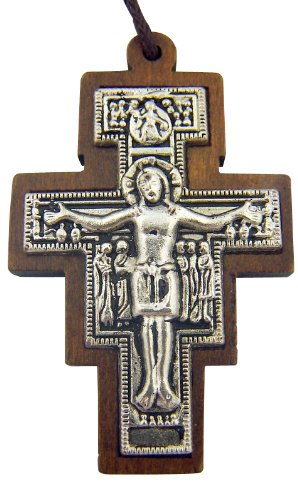 Catholic Gift Wood Inlay Metal Saint St Francis of Assisi San Damiano Tau Cross Crucifix Pendant with 30 Inch Cord ()