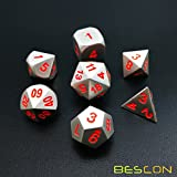 BESCON DICE Bescon 7pcs Set Solid Metal Polyhedral D&D Dice Set Matt Silver with Orange Numbers, Metal RPG Role Playing Game Dice Set