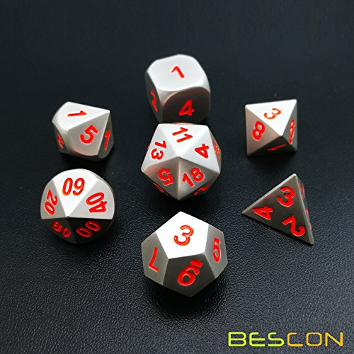 BESCON DICE Bescon 7pcs Set Solid Metal Polyhedral D&D Dice Set Matt Silver with Orange Numbers, Metal RPG Role Playing Game Dice Set by BESCON DICE