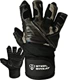 Steel Sweat Weightlifting Gloves with 18-inch Wrist Wrap Support for Workout, Gym and Fitness Training - Best for Men and Women Who Love Weight Lifting - Leather ZED Camo Large