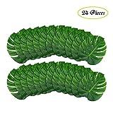 B-COOL Tropical Leaves Palm -24 Pcs (14''x12'')-Artificial Large Silk Fabric Monstera Decoration Leaf - Hawaiian Luau Safari Jungle Beach Theme Party Supplies Table Decor Accessories