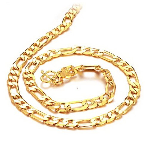 36f6dc7e767c6 K-DESIGN Luxury Figaro Link Chain Necklace - 18k Gold Plated for Cool Men  20