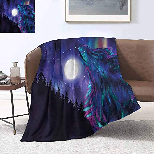 DILITECK Throw Blanket Moon Aurora Borealis and Wolf Warm and Cosy W70 xL93 Traveling,Hiking,Camping,Full Queen,TV,Cabin