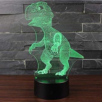 Regalo para niños 3D dinosaurio baloncesto visual luz nocturna ...