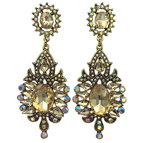 - Long Rhinestone Formal Fancy Pageant Vintage Look Large Post Dangle Earrings (Topaz Light Brown Gold Tone)