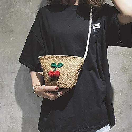Caqui Bandolera Bolso motivo de de Hierba Hecho Mujer de Bolsos Mujer para para para Tejido Bolso de cereza Playa entretejido Multifunsional Bolso con Mano SqR5g