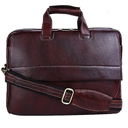 (HiLEDER 100% Pure Genuine Leather 15.5 inch Briefcase Laptop Messenger Satchel Office Bag, Dark Brown)