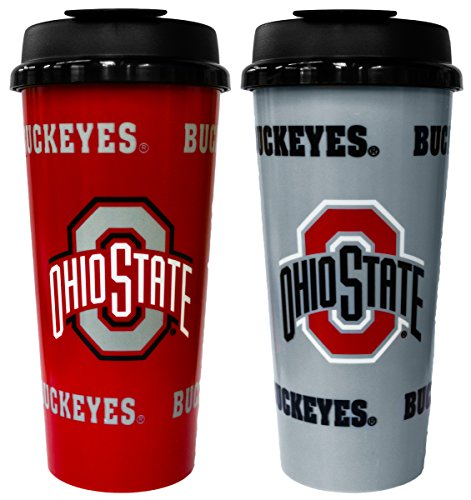 GameDay Novelty NCAA Ohio State Buckeyes Insulated Travel Tumbler with No Spill Flip Lid, 16 oz, 2 (Ohio State Buckeyes Travel Mug)