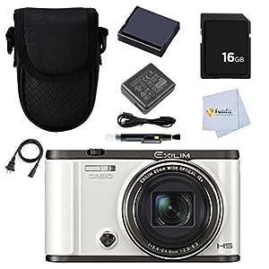 Casio Exilim EX-ZR3500 Self-Portrait Compact Digital Camera (White) + 16GB Memory Card + Battery + Adaptor & more