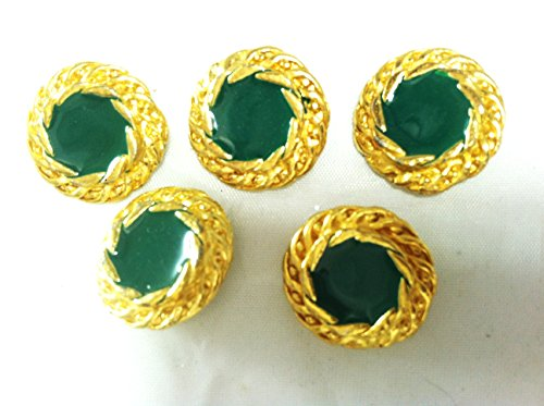 14 Kt Plated Gold Fashion Buttons Sets with Hunter Green Epoxy for Blazer Suits Dresses 6pc.#37 ()