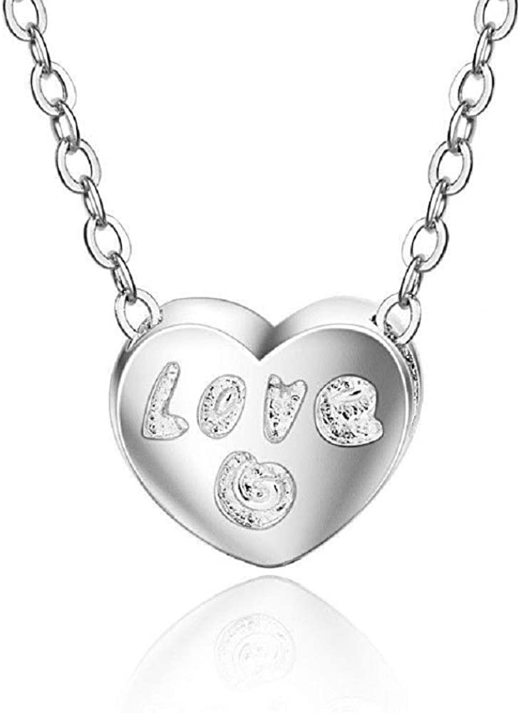h5/_jc 1 Pc Women 925 Sterling Silver Custom Engraved Love Heart Crystal Pendant Necklace