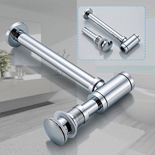 Aruhe® (1 Set) Siphon + Pop Up Ablaufventil mit Überlauf Push-Up Ablaufgarnitur Stöpsel Abfluss Ventil für Waschbecken Waschtisch Spültisch
