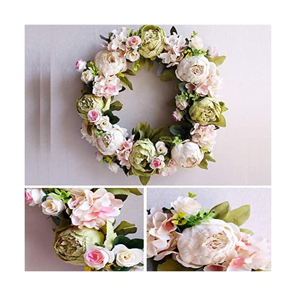 CURE SECRET 16 Inch Artificial Flower Wreath Christmas Peony Wreath Pink Flower Door Wreath with Green Leaves Spring Wreath for Front Door for Christmas/Wedding Party/Home Decor