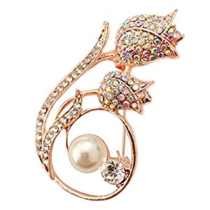 Bledyi Ladies Pearl Brooch Camellia Pin Girl Retro Brooch Diamond Brooch Suitable for Work/Dating